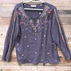 Solitaire | Embroidered Long Sleeve Tassel Top XL